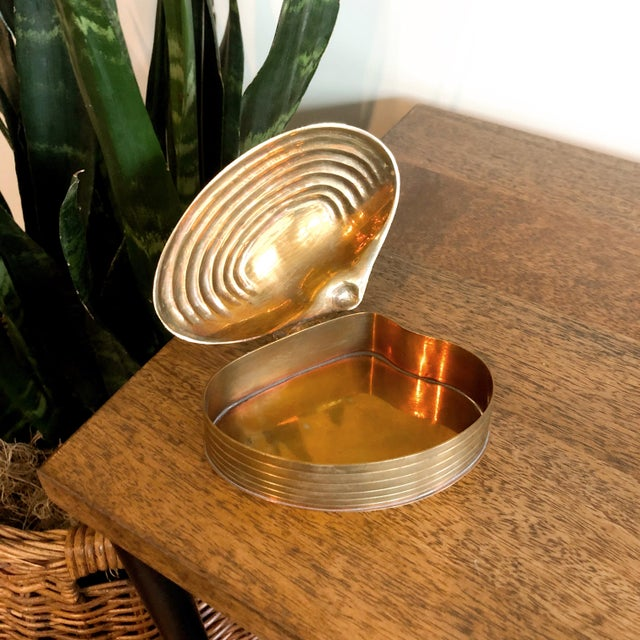 Mid-Century Modern Brass Shell Trinket Box For Sale - Image 3 of 5