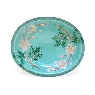 Antique Majolica Turquoise & Rose Bread Tray