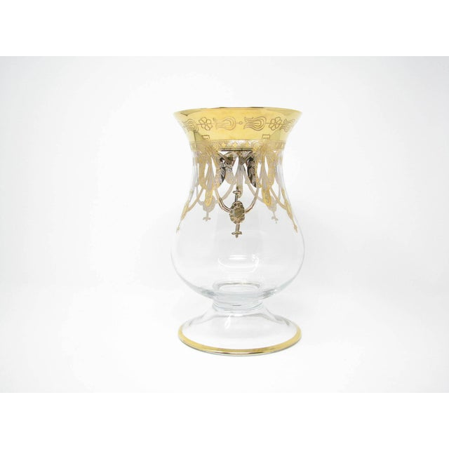 Gold Vintage Same Cristallerie Italy Glass and 24k Gold Encrusted Large Footed Vase For Sale - Image 8 of 13