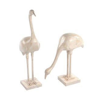 Vintage Tessellated Fossil Crane Statues For Sale