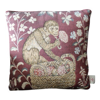 Vintage Monkey Needlepoint Tapestry Pillow