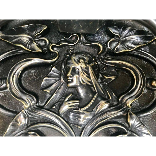 20th Century Art Nouveau Silvered Heavy Bronze Jewelry Box Casket For Sale In New York - Image 6 of 13