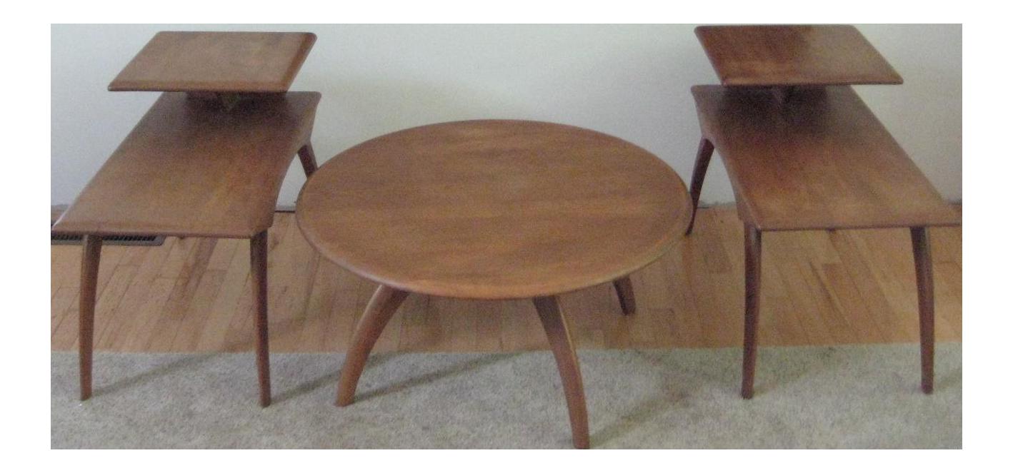 Heywood Wakefield MidCentury Coffee Table End Tables Set of 3