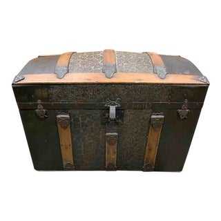 Late 19th Century Antique Metal Covered Round Top Travel Trunk For Sale
