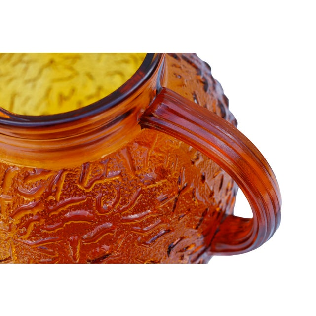 Anchor Hocking Anchor Hocking Textured Glass Pitcher in Amber For Sale - Image 4 of 6