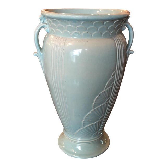 Art Deco Light Blue Ceramic Urn - Image 1 of 6