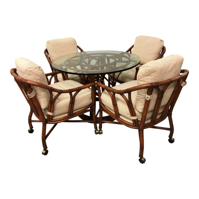 Ficks Reed Rattan Bent Bamboo Leather Bound Dining Set - 5 Pieces For Sale