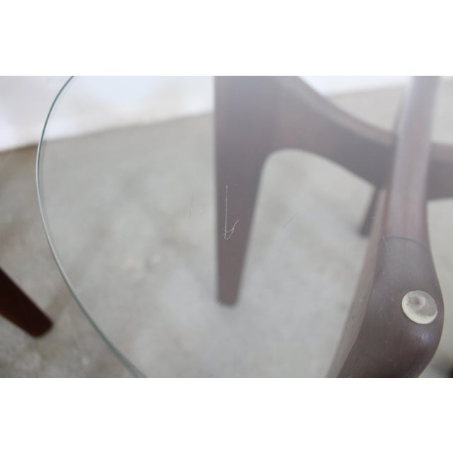 Pair of Mid-Century Danish Modern Adrian Pearsall Stingray Glass Top End Tables For Sale - Image 10 of 13