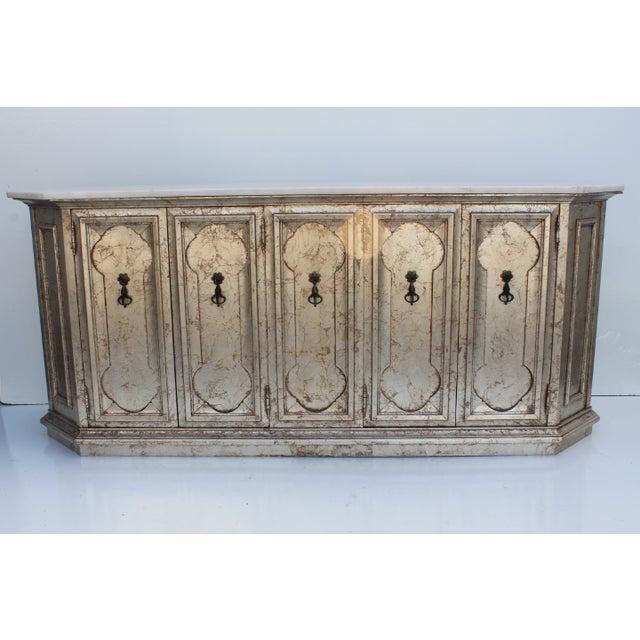 Hollywood Regency Silver Leaf Gabinet & Marble Top - Image 7 of 11