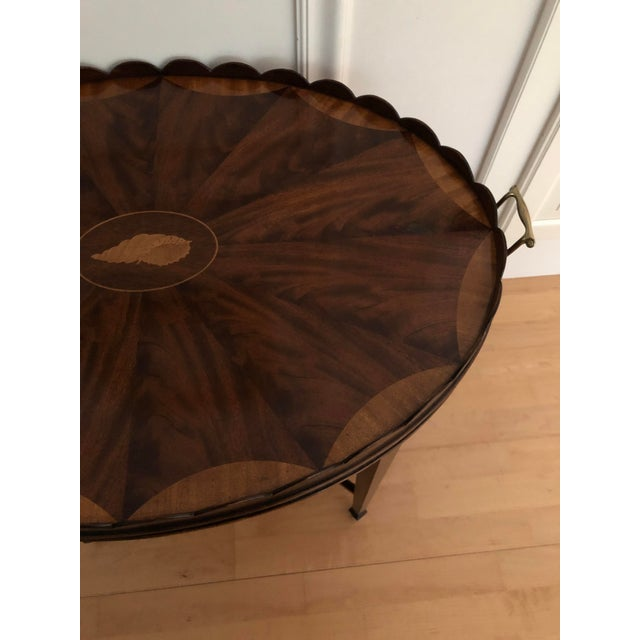 Mid-Century Modern Baker Furniture Collector's Edition Scalloped Tray Table For Sale - Image 9 of 11