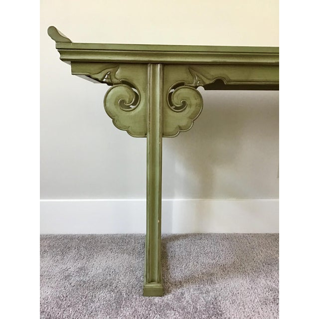 Late 20th Century 20th Century Asian Style Jade Wood Altar Console Table For Sale - Image 5 of 10