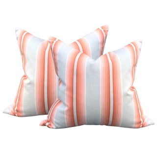 Early 20th Century French Ombré Striped Pillows - a Pair For Sale