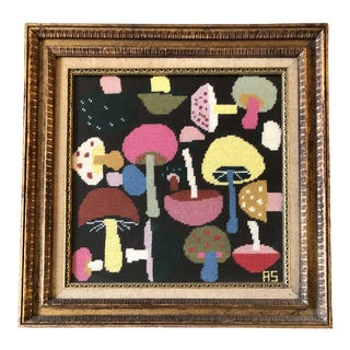 1960's Mushroom Needlepoint W/Original Custom Frame For Sale