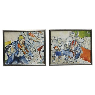 Mid-Century French Jazz Club Scenes - Set of 2 For Sale