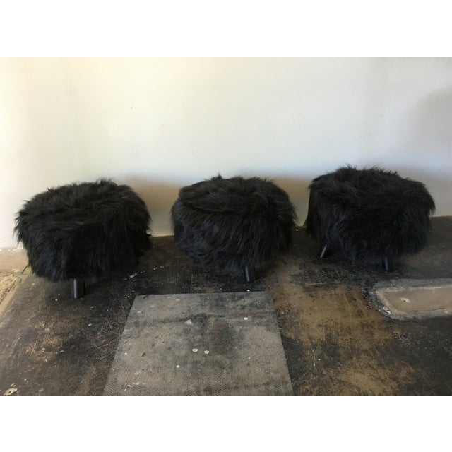 Black Faux Flokati Ottomans - Set of 3 - Image 2 of 3