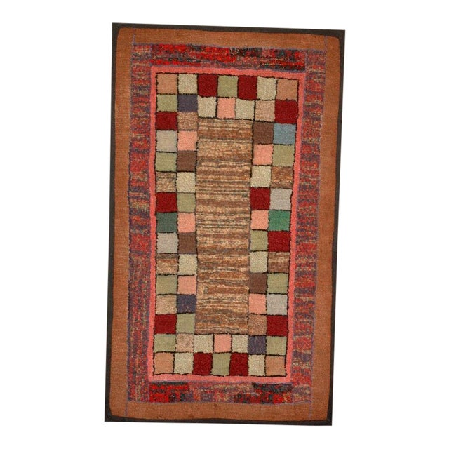 1930s Mounted Blocks Hand-Hooked Rug For Sale