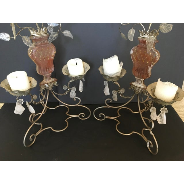 Art Deco Pair of Metal, Glass and Rock Crystal 2-Light Candelabra.by Bagues For Sale - Image 3 of 8