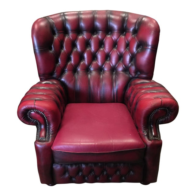 Springvale Leather Tufted Armchair For Sale
