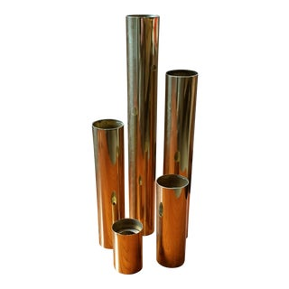 1970s Glam Tubular Brass Candle Holders - Set of 5 For Sale