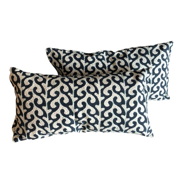 Navy Waves Hand Stitched Pillows - A Pair - Image 1 of 7