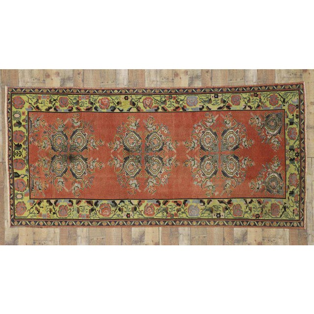 Vintage Turkish Oushak Gallery Rug Runner - 4'6 X 9'6 For Sale - Image 4 of 8