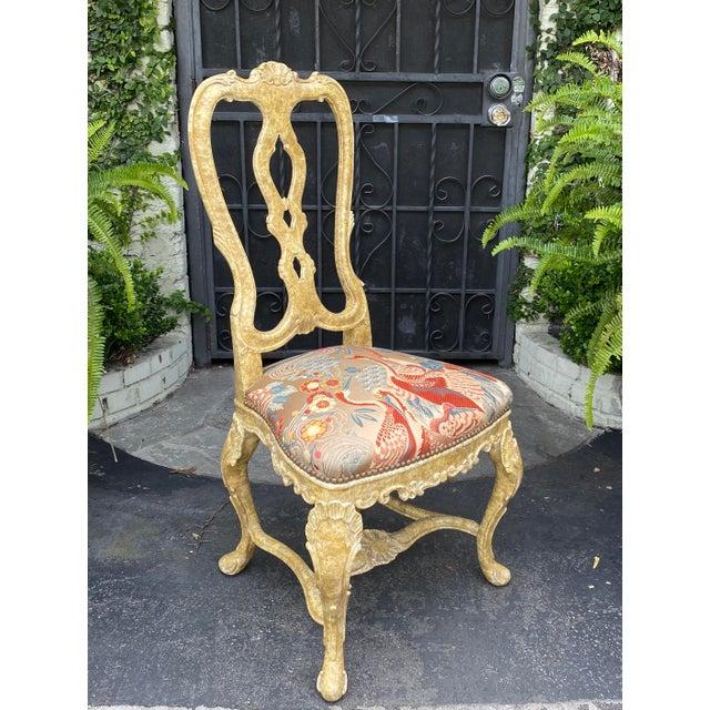 Pair of Antique Venetian Side Chairs W Scalamandre Silk Lampas W Birds