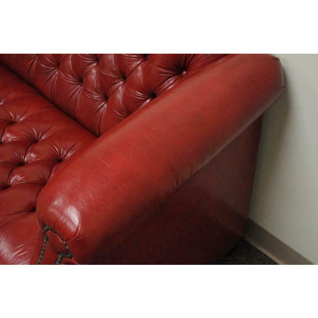 Red Vintage Red Leather English Chesterfield Style Button Tufted Sofa by Jasper For Sale - Image 8 of 11