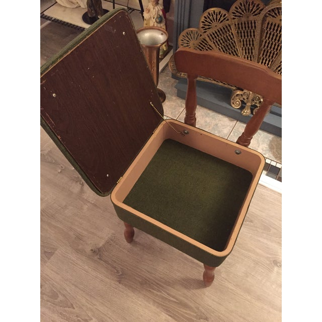 Vintage Vinyl Sewing Hassock Stool For Sale - Image 4 of 7