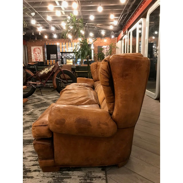 Rustic Large Leather Sofa For Sale - Image 3 of 11