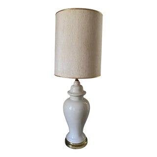 Vintage 1970s White Ginger Jar Table Lamp For Sale