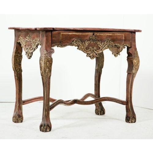 Tall painted console with single long drawer made in Spain in the 18th Century.