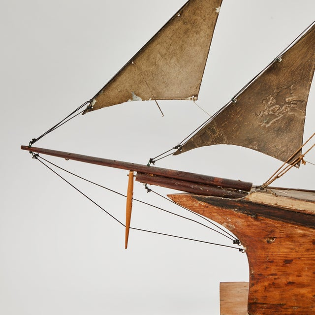 Late 19th Century Handmade Wooden Ship Model From France For Sale - Image 10 of 11