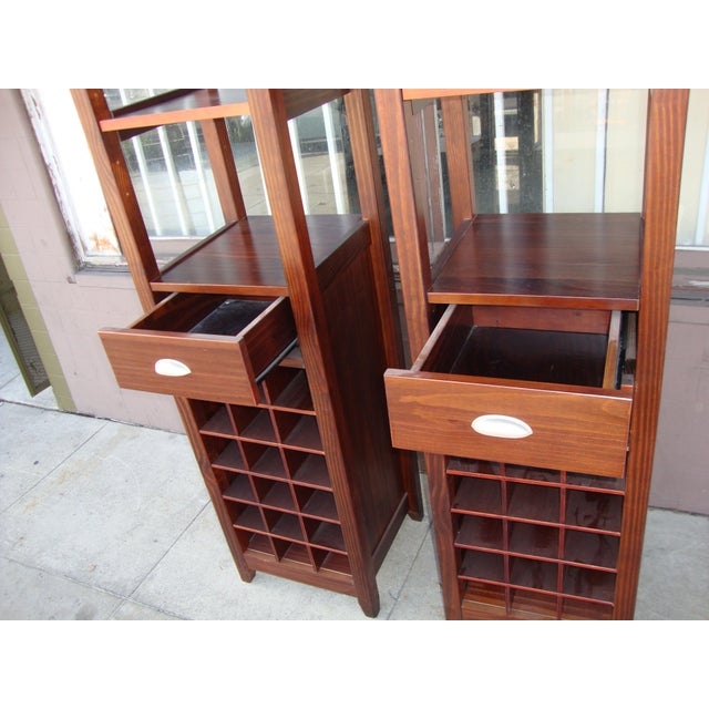 Contemporary 1980s Wooden Wine Cabinets - a Pair For Sale - Image 3 of 11