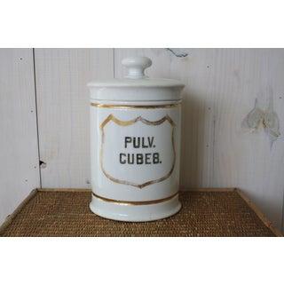 Antique White Ceramic Apothecary Jar Preview