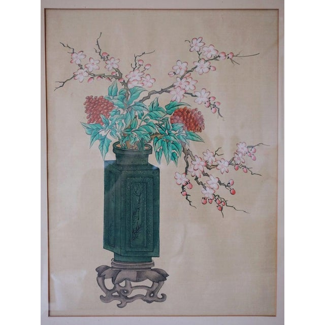 Wood Chinese Hand Painted Asian Vase and Flowers Painting on Silk With Custom Frame For Sale - Image 7 of 11