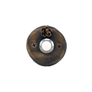 Round Western Hemlock Doorbell, Traditional Patina For Sale
