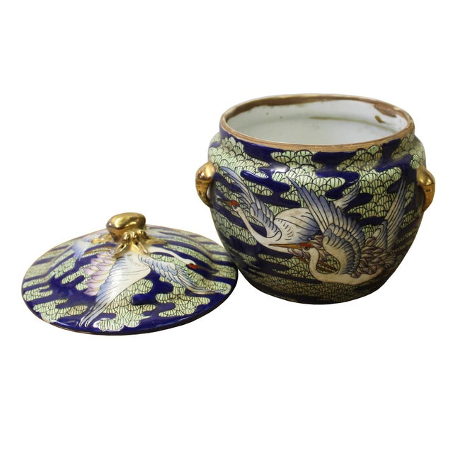 Asian Chinese Oriental Porcelain Crane Scenery Container Box For Sale - Image 3 of 5