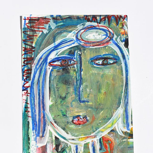 Contemporary Contemporary Green Abstract Outsider Figural Painting of a Woman For Sale - Image 3 of 5