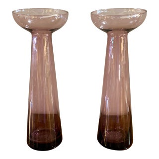 Amethyst Glass Candle Holders - a Pair For Sale
