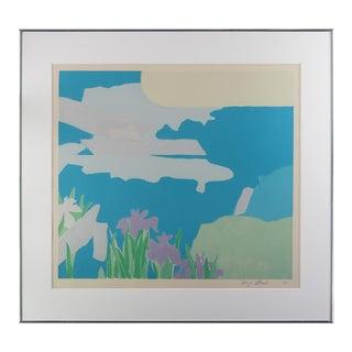 "1975 ""Iris"" Abstract Botanical Print by Kenzo Okada, Framed For Sale"
