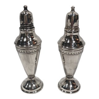 Vintage Sterling Silver Weighted Salt and Pepper Shakers - a Pair For Sale