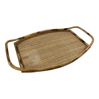 Woven Wicker and Rattan Tray For Sale