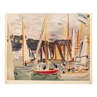 1954 Raoul Dufy, Harbor at Deauville First Edition Lithograph For Sale