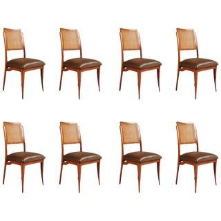 Giuseppe Scapinelli Caviuna and Wicker Dining Chairs, Eight, Brazil, Circa 1950 For Sale