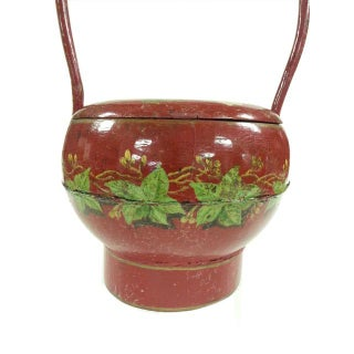 Vintage Chinese Red Lacquer Wedding Marriage Basket Preview