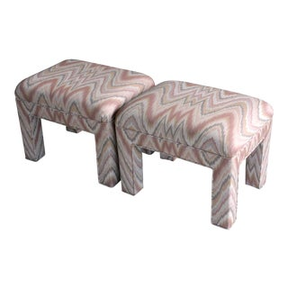 1980s Contemporary Flamestitch Parsons Ottomans, a Pair For Sale