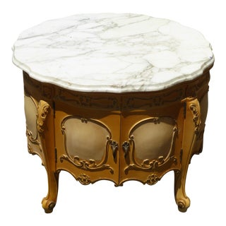 Vintage French Provincial Rococo Marble Top End Table For Sale