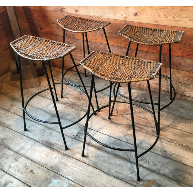 Metal Arthur Umanoff Wrought Iron & Wicker Counter Height Bar Stools - Set of 4 For Sale - Image 7 of 11