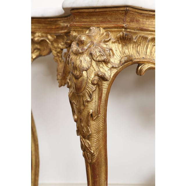 Gold Gilt Console With Custom Cut Marble Top For Sale - Image 9 of 12