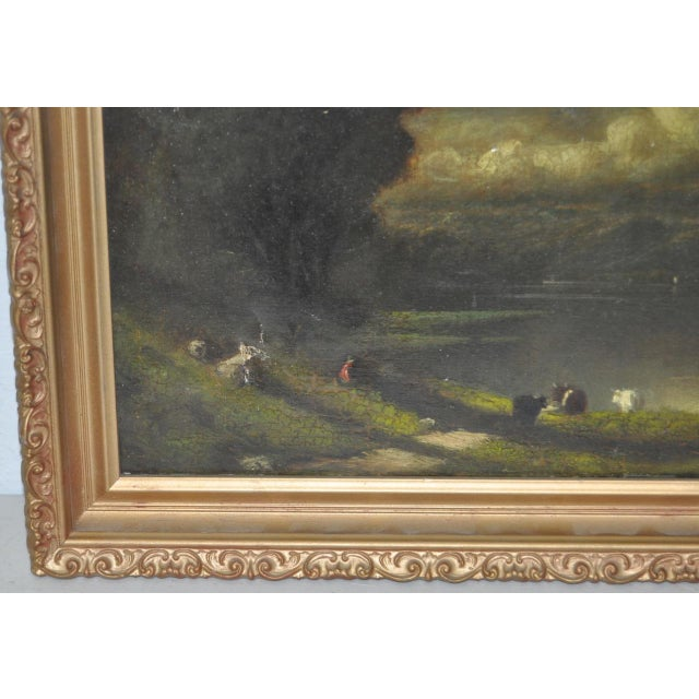 19th C. Country Landscape w/ Cows & Figure For Sale - Image 4 of 9